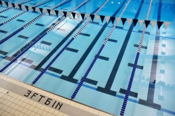 Swimming Pool with Lanes Roped Off